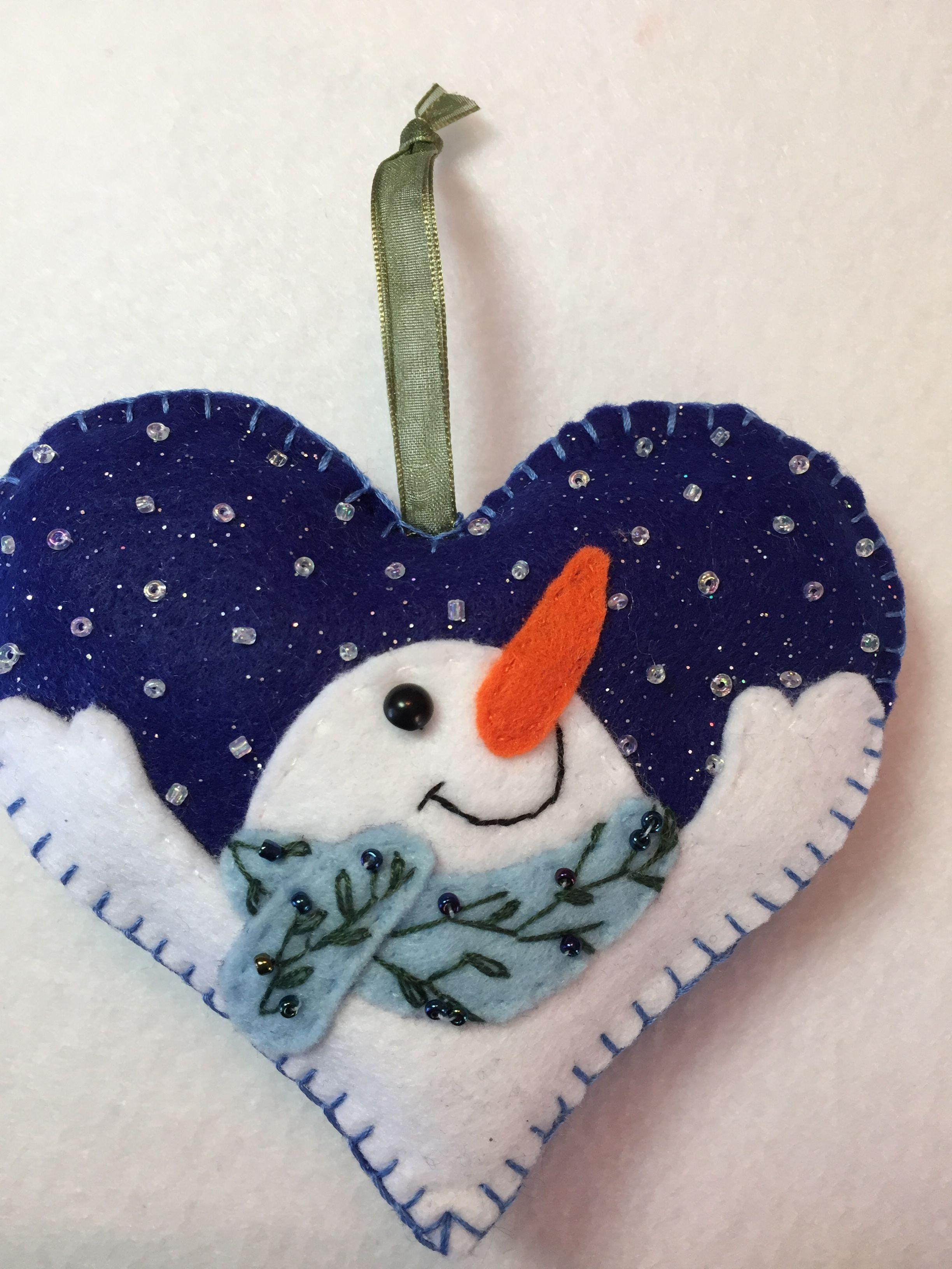 Snowman Felt Ornament Felt Ornaments Patterns Felt Crafts Christmas Felt Ornaments
