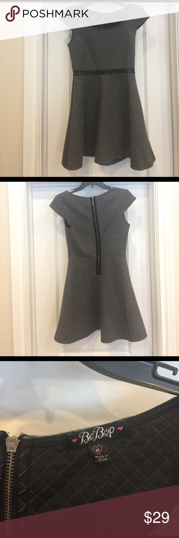 Grey Quilted Dress w/ Leather Belt/Band BeBop Sz M Excellent Condition, Girls Size Medium (12/14) Grey Dress with Black Leather Band/Belt half way around the waist. Very Pretty. Bebop Dresses Formal