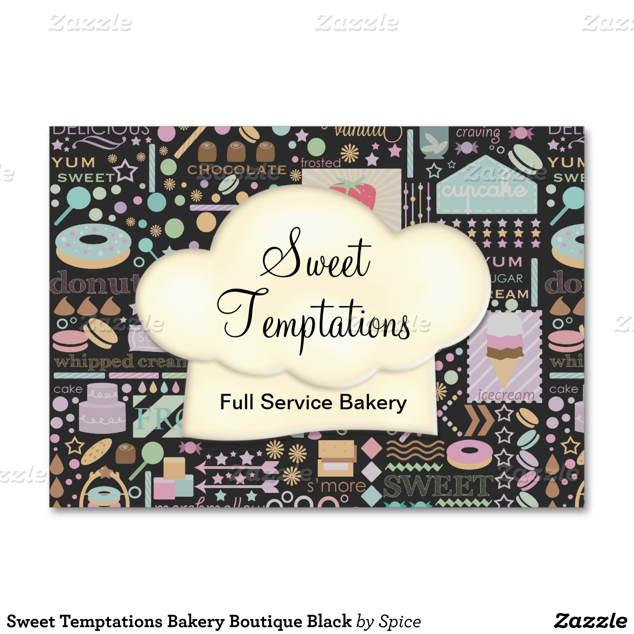 sweet temptations bakery boutique black business card