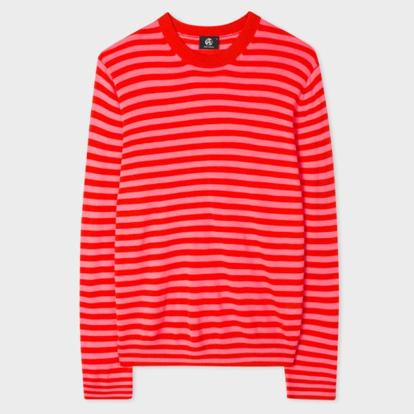 Paul Smith Men's Red And Pink Breton-Stripe Merino Wool Sweater ...