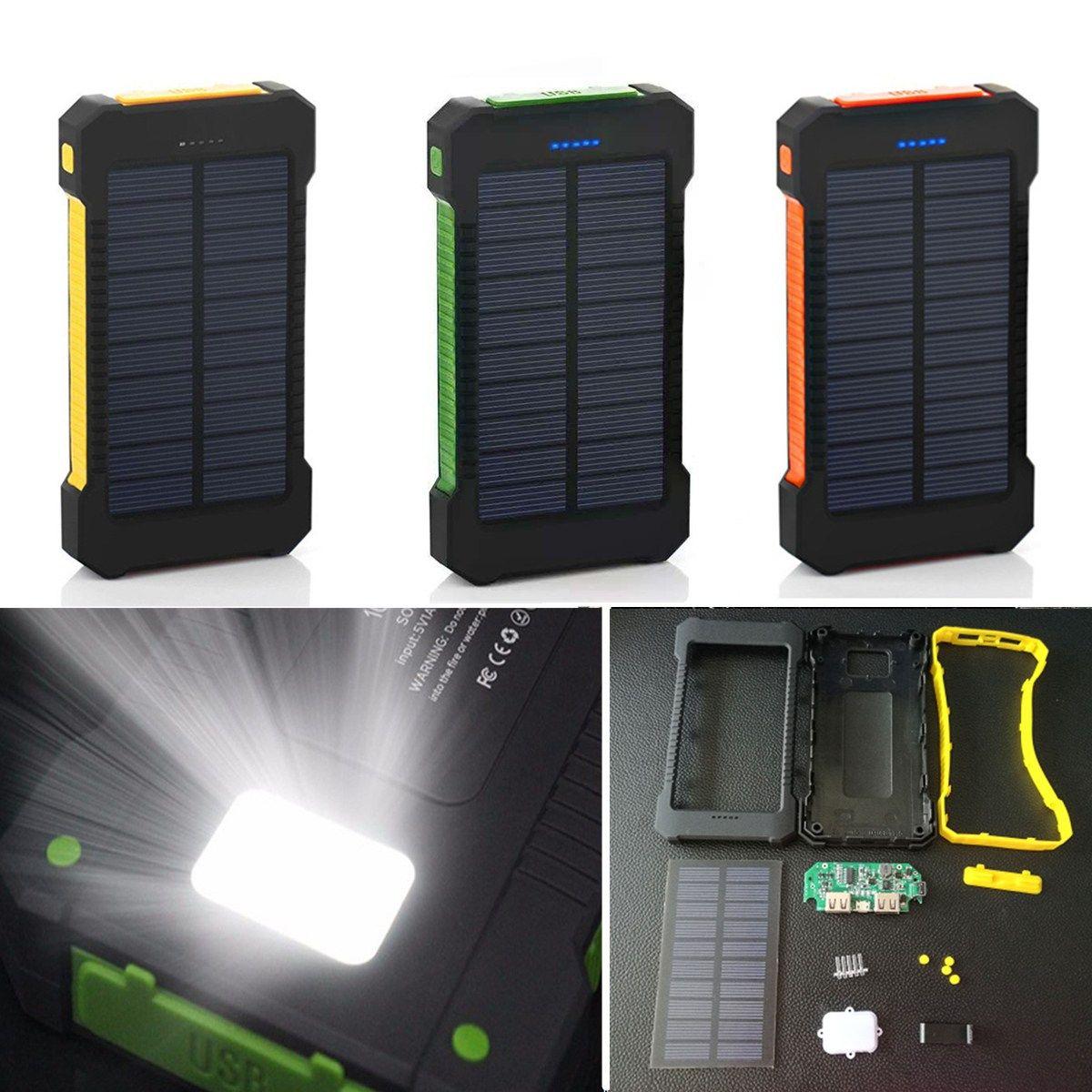Bakeey F5 10000mah Solar Panel Led Dual Usb Ports Diy Power Bank Case Battery Charger Kits Box Power Bank Case Powerbank Battery Charger