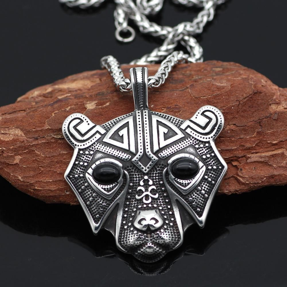 Stainless Steel Bear Head Pendant Viking jewelry, Celtic