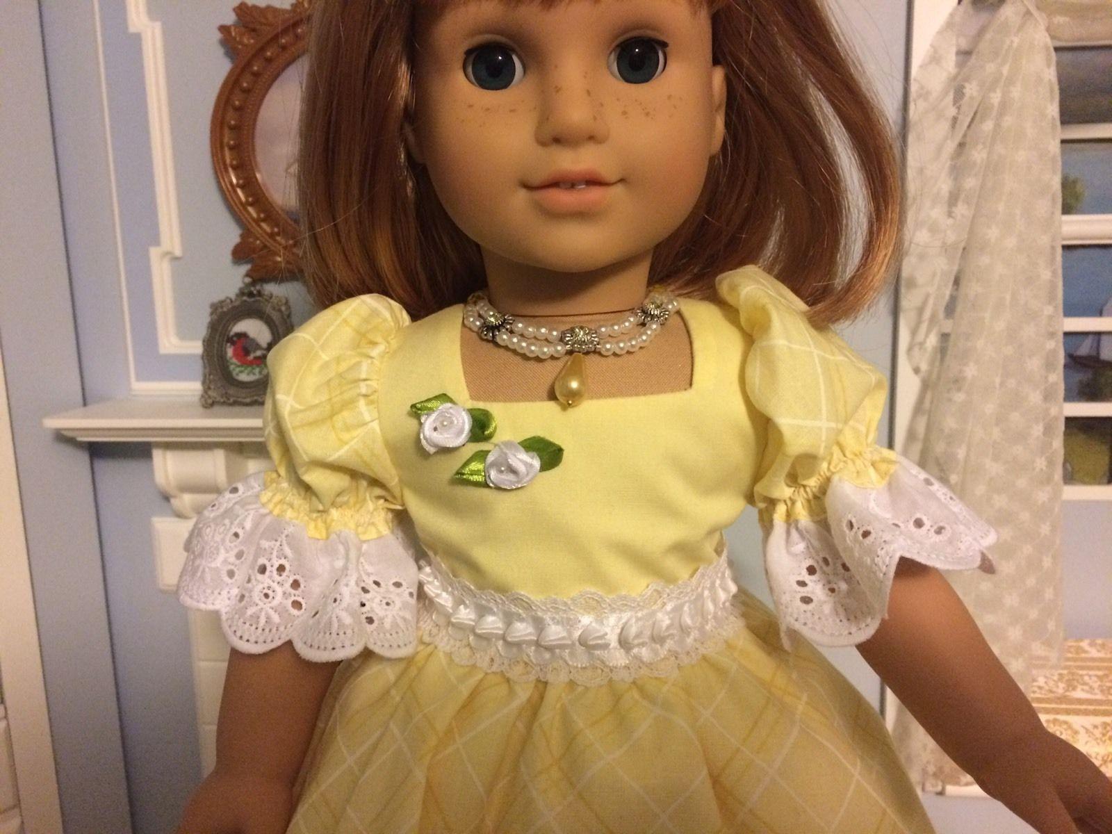 "VICTORIAN YELLOW PRINT DRESS & ACCESSORIES - 18"" AMERICAN GIRL, NELLIE, CAROLINE | eBay"