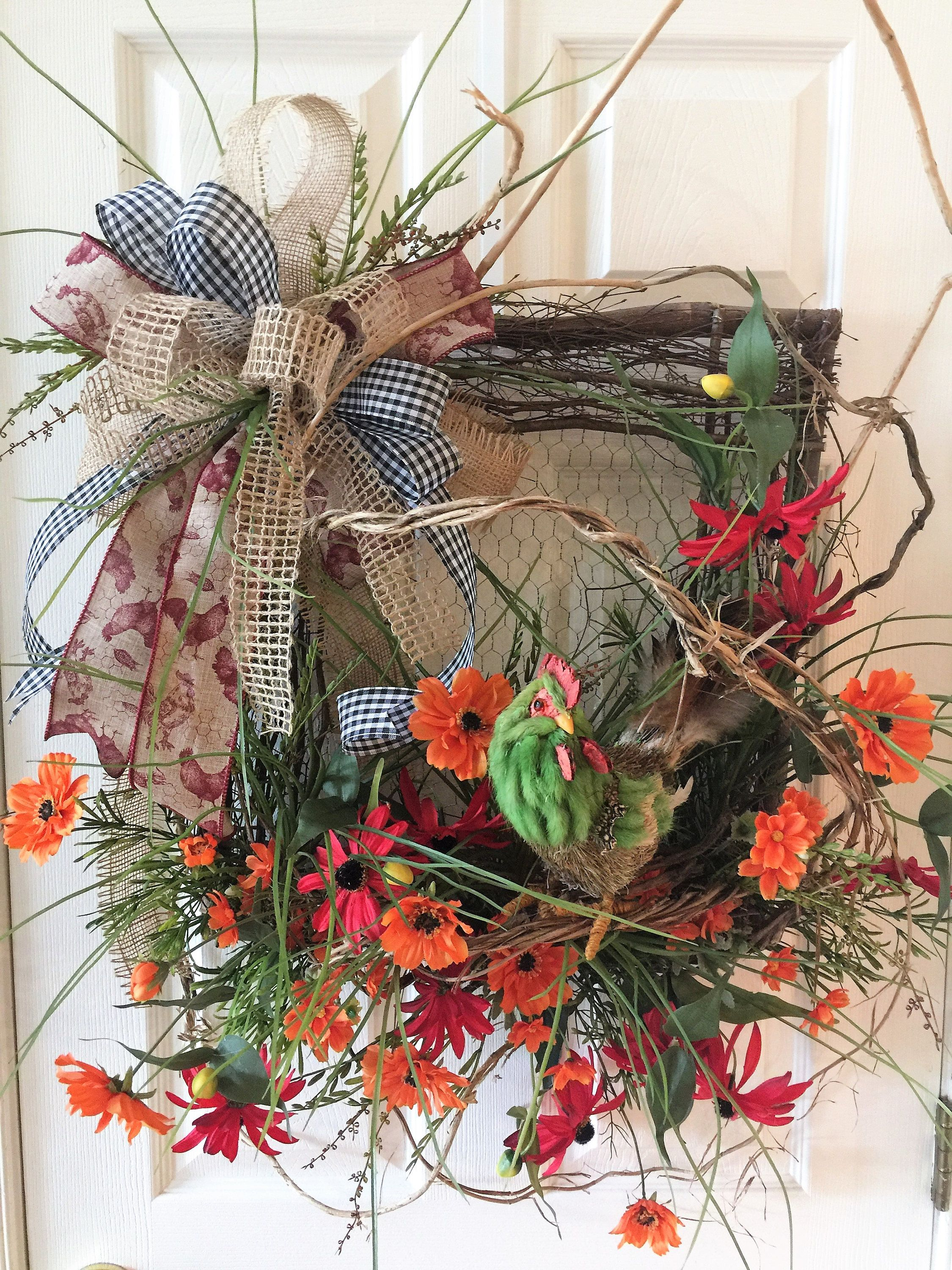 Country French Wreath, Square Wreath With Rooster, Fall Wreath, Rooster,  Orange And Red, Country French Ribbon, Black And White Check