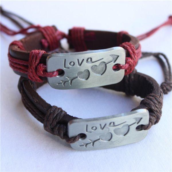 00d6f374437 Barato 2 pçs lote duplo encanto do coração amor pulseira de couro moda  artesanal barato