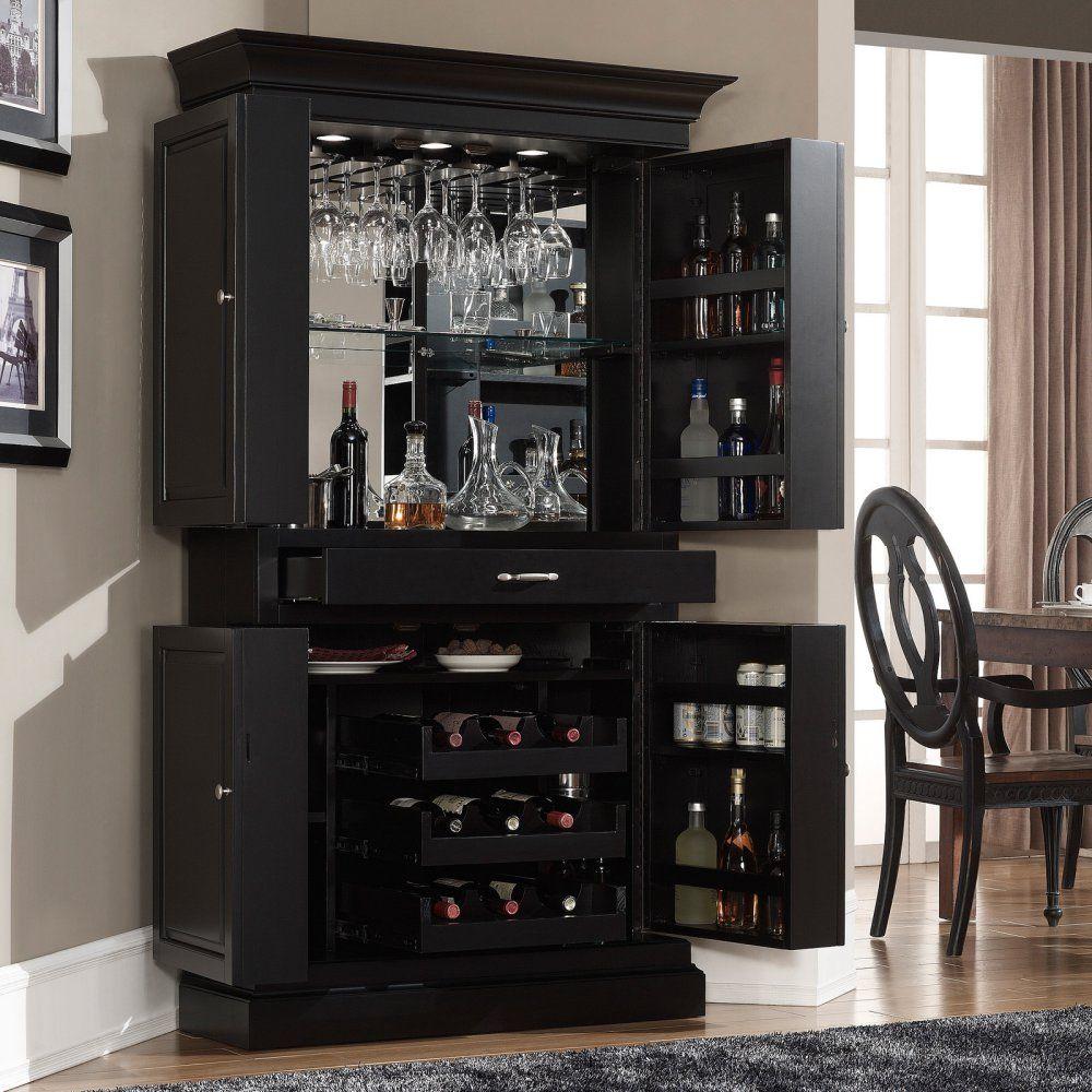Black Home Bar Furniture: AHB Francesca Corner Bar Cabinet