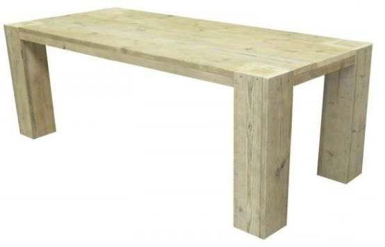 Steigerhout tafel xl met blokpoten doe het zelf idee n for Steigerhout eethoek