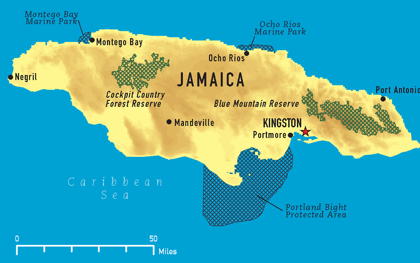 This is a map of Jamaica which is south of Florida and is one of the