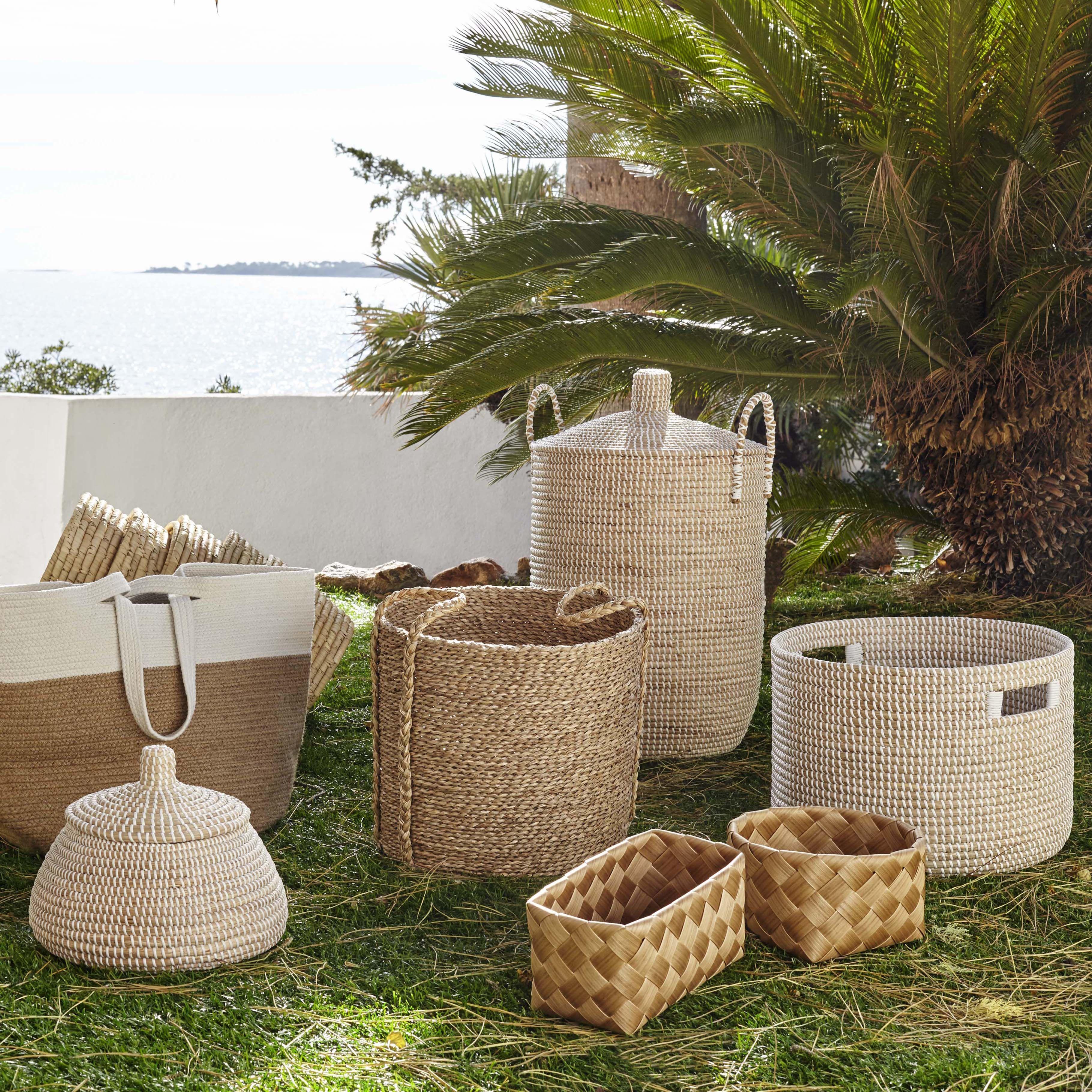 Jogga Panier 70cm Avec Couvercle En Jonc De Mer Bohemian Style Decor Habitat Garden Decorative Wicker Basket