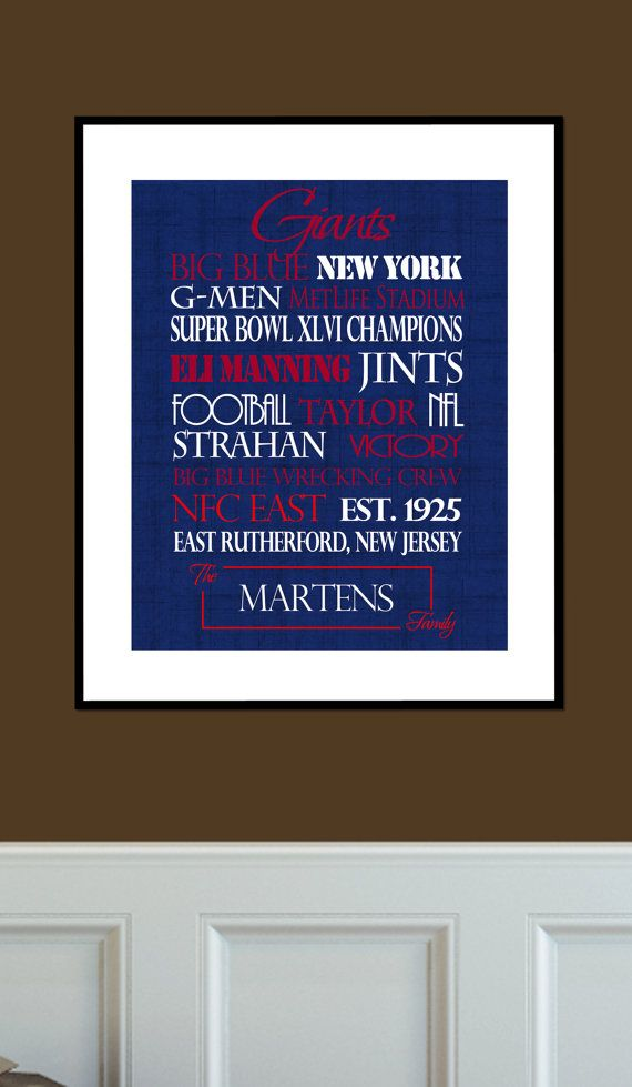 NY Giants Gift Print or Canvas. football prints. New York Giants ... 49e80bfce