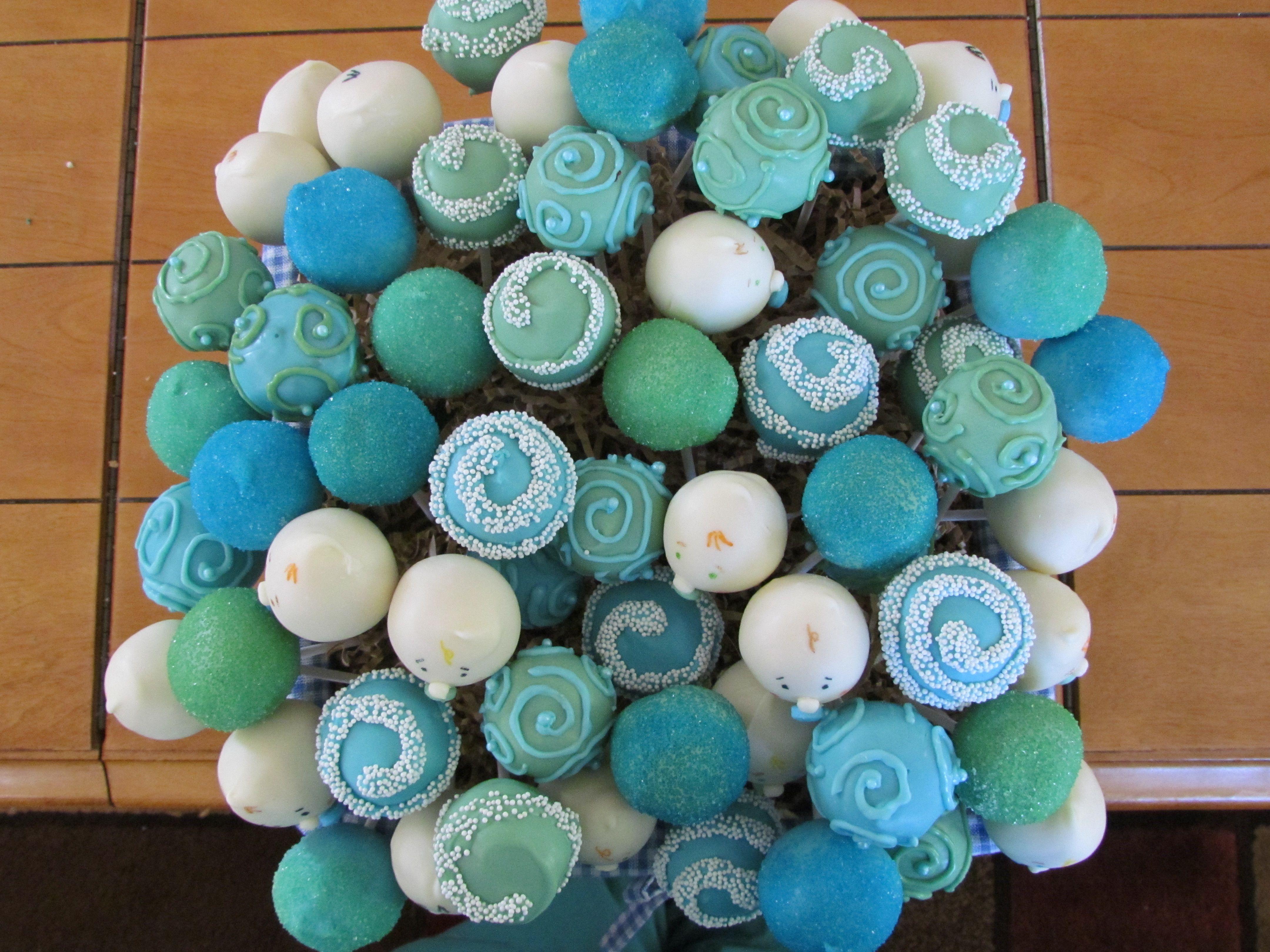 Baby Boy Shower Cake Pop Basket.