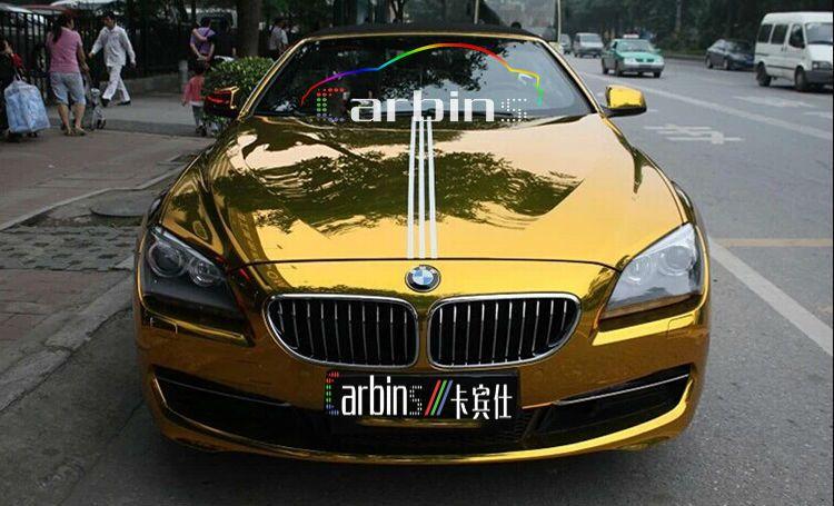 Stretch chrome gold vinyl car wrap foil high gloss mirror