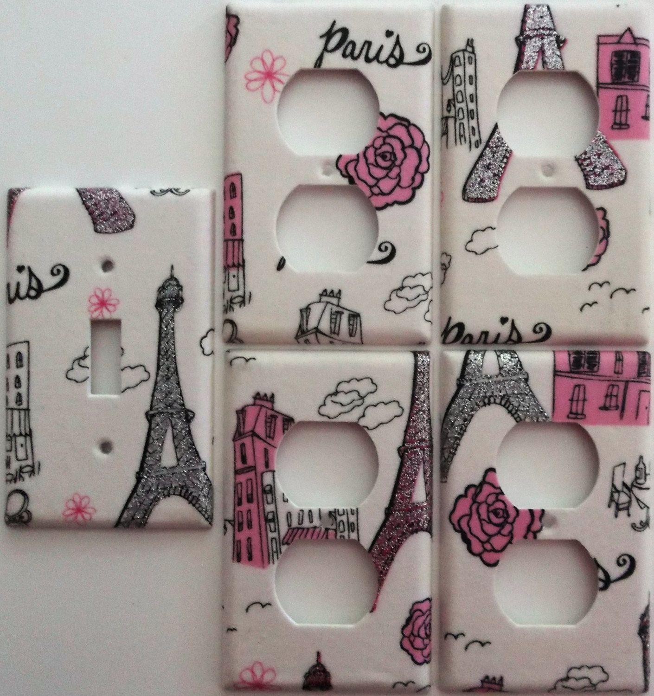 Paris Eiffel Tower Pink Glitter Motif Girls Light Switch Plate ...