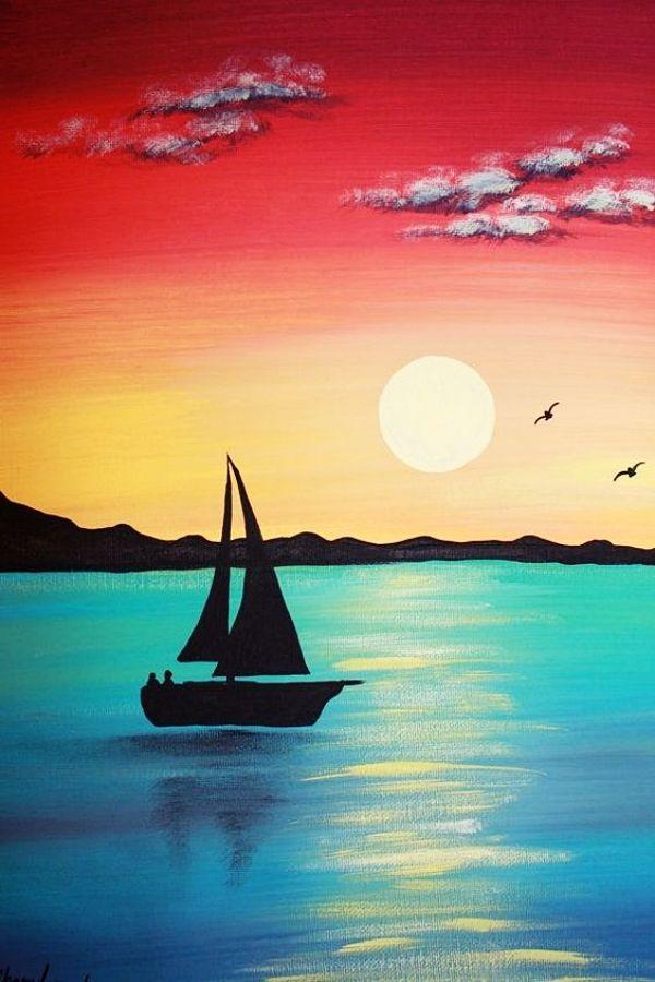 Easy Acrylic Painting Ideas On Canvas Malerei Bilder Landschaftsmalerei