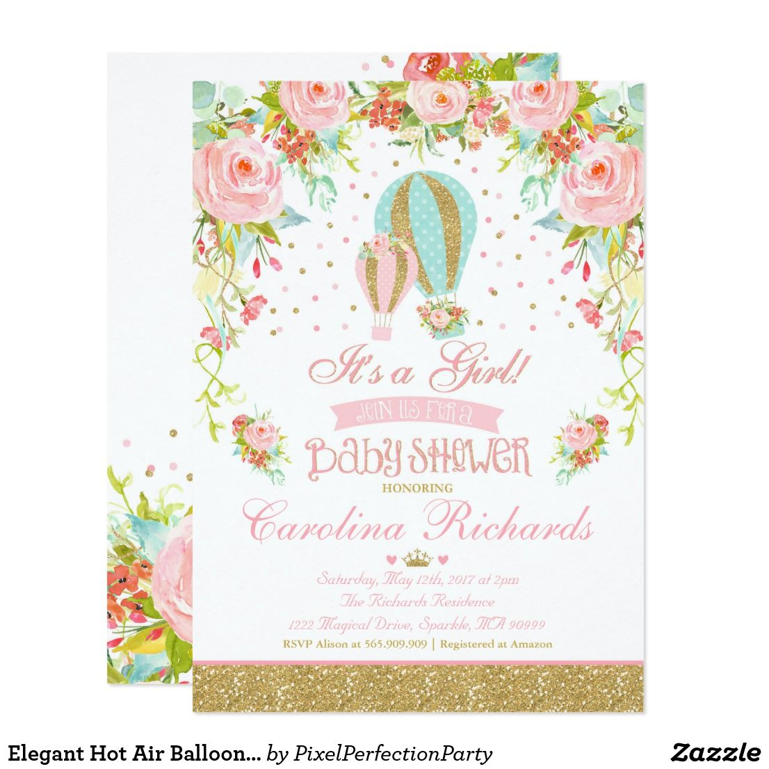Elegant hot air balloon baby shower invitation baby shower elegant hot air balloon baby shower invitation filmwisefo Image collections