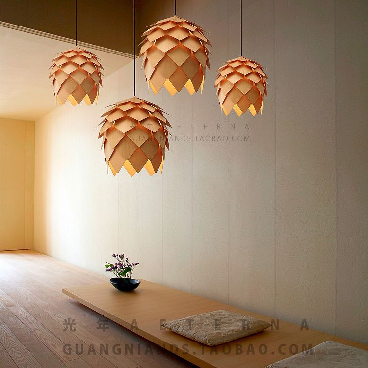 Exceptional Wholesale New Modern Novelty Creative Pine Cone Pendant Light Lamp Wood  Lampshade Pendant Lighting Lamp For Ideas