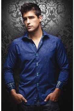 a06a99765a15 Find this AU NOIR Vitali jacquard sax many men's shirt at  www.mensdressshirts.ca