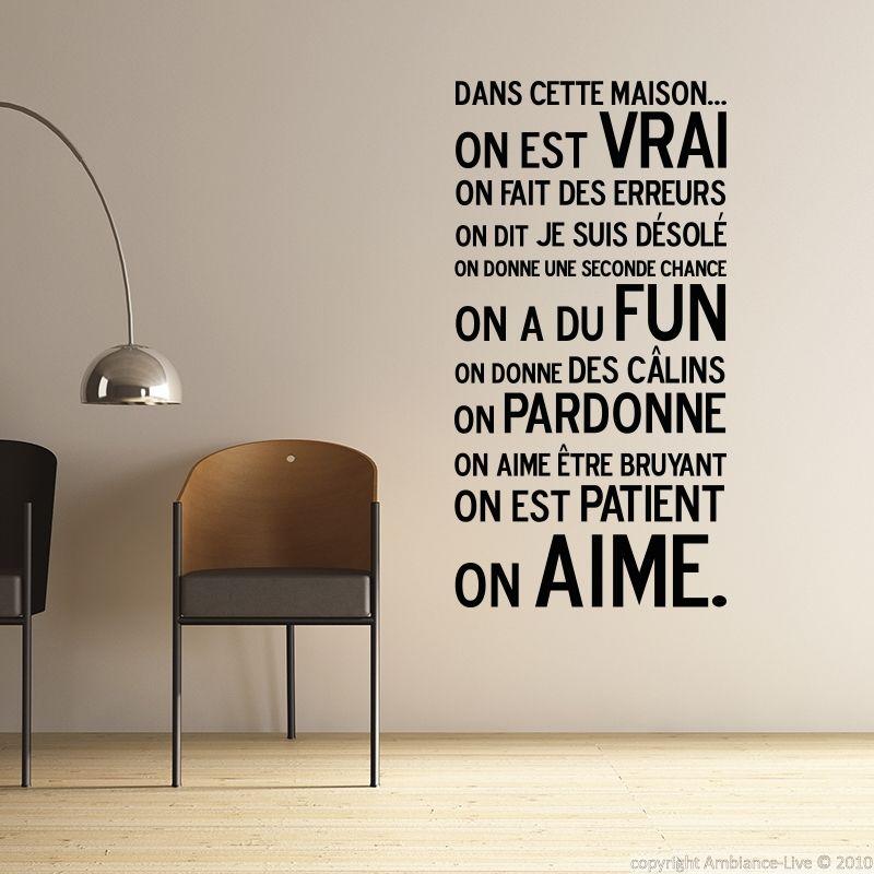 Stickers muraux citations sticker dans cette maison for Collant mural francais
