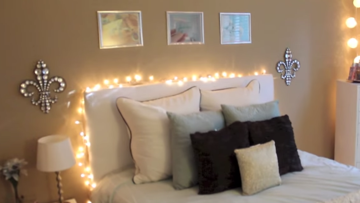 Meghan Rienks bedroom // IKEA malm bed with fairy lights and