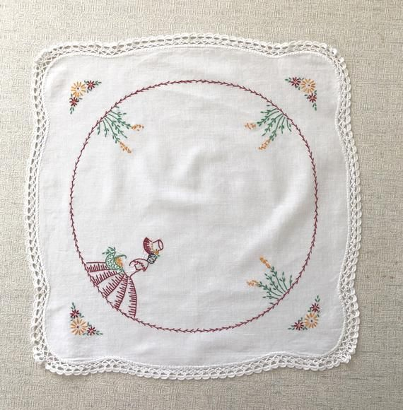 Vintage Hand Embroidered Doily With Sun Bonnet Sue, Flowers, And Crocheted Edge