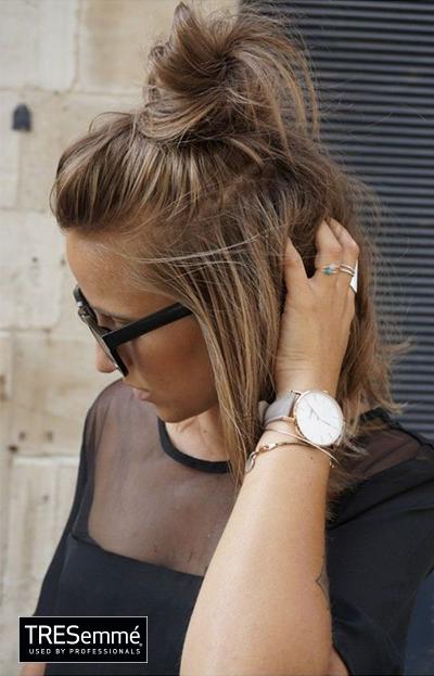 Medio Moño Alto Messy Top Knot Short Hair Tresemméperú