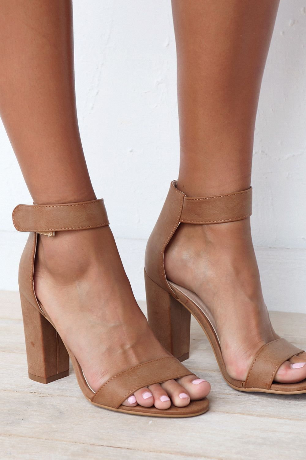 bf97950cc75 Your go-to heel is here! The Pia Heels in Tan feature simple, thick ...