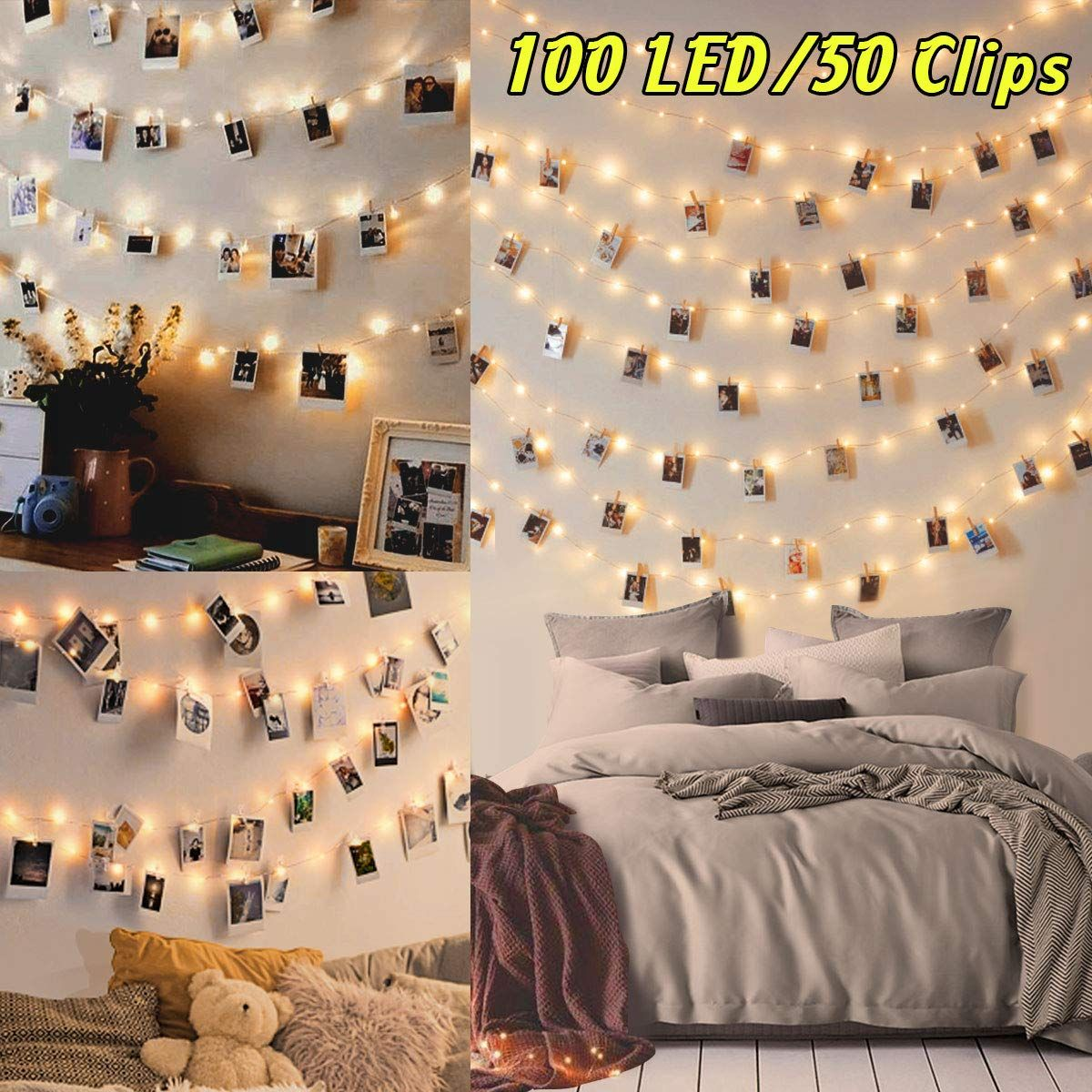 100led Luci Led Per Foto Polaroid 10m Lucine Led Decorative Per Camere Porta Foto Luci Con Mo Camera Da Letto Chiara Decorazioni Interni Illuminazione Camera