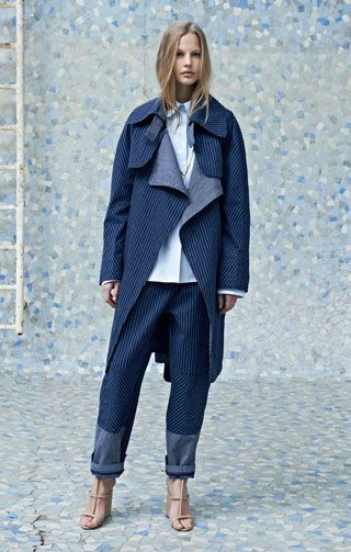 Patchwork denim trench coat Boyish poplin cotton shirt Patchwork denim trousers