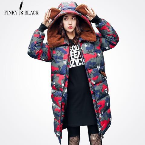 ec89a5ee72f9e Pinky Is Black 2017 Long Parka Thick Female Winter Coat Women Camouflage  Warm Winter Jacket Woman Hooded Coat And Jacket Outwear