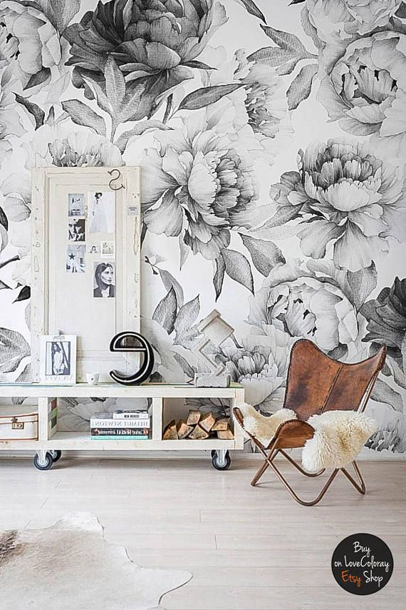 White Peony Removable Wallpaper Peonies Wall Mural Black And Etsy Peony Wallpaper Feature Wall Wallpaper Temporary Wallpaper