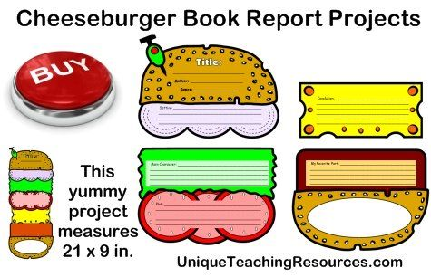 Cheeseburger Book Report Project templates, printable worksheets - book report sample