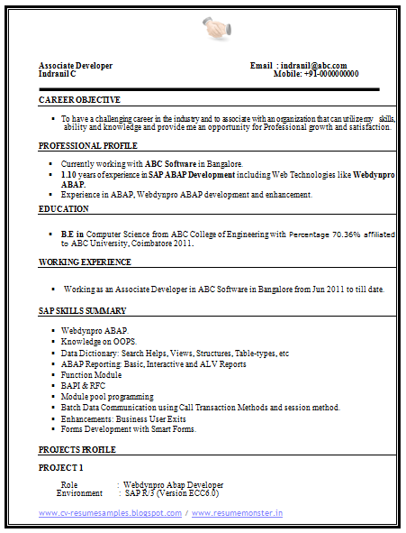 Computer Science Resume Sample   Career    Cv