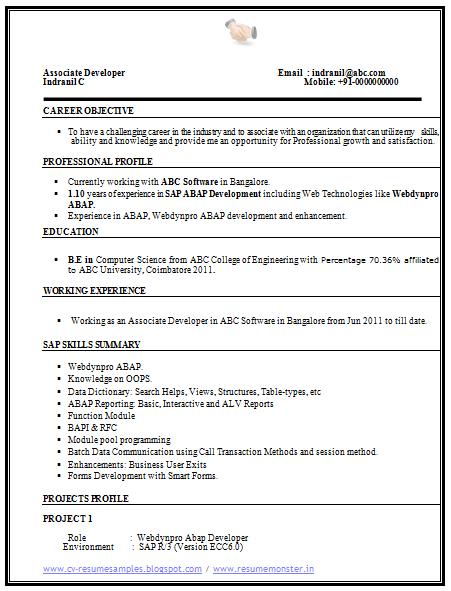 Computer Science Resume Sample 1 Cv Resume Sample Resume Examples Resume