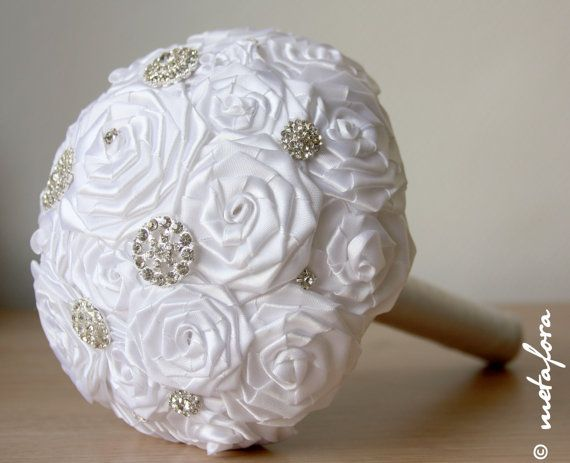 White++Fabric+Wedding+Bouquet+Unique+Fabric+Flower+by+feltdaisy,+$160.00