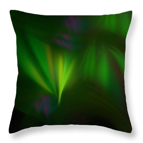 Anna Maloverjan Throw Pillow featuring the digital art This Fractal Looks Like Aurora by Anna Maloverjan  fractal, aurora, northern, sky, polar, light, lines, art, glow, render, abstract, background, multicolored, design, element, creative,