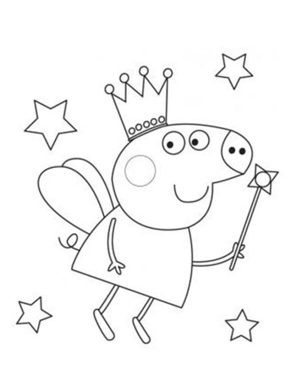 fairy peppa pig coloring in pages