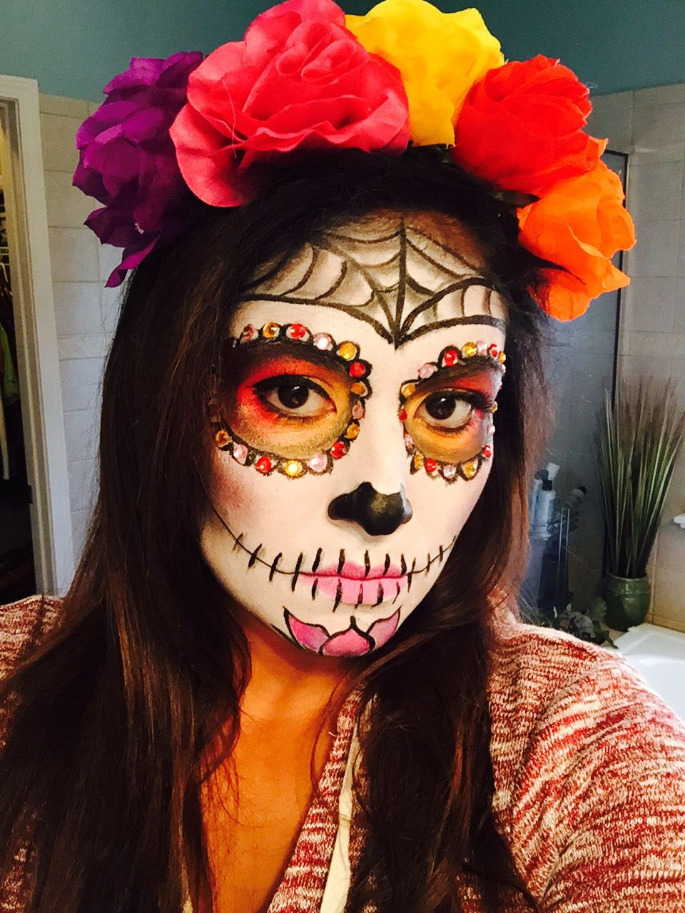 sugar skull makeup catrinas pinterest d a de muertos dia de las muertos y d a de. Black Bedroom Furniture Sets. Home Design Ideas
