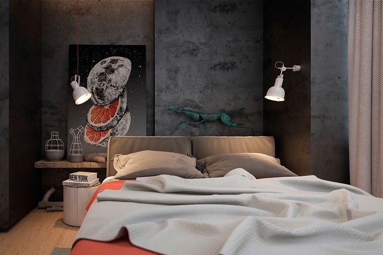 idee-camera-da-letto-parete-cemento-colore-grigio-lampada-abat-jour ...