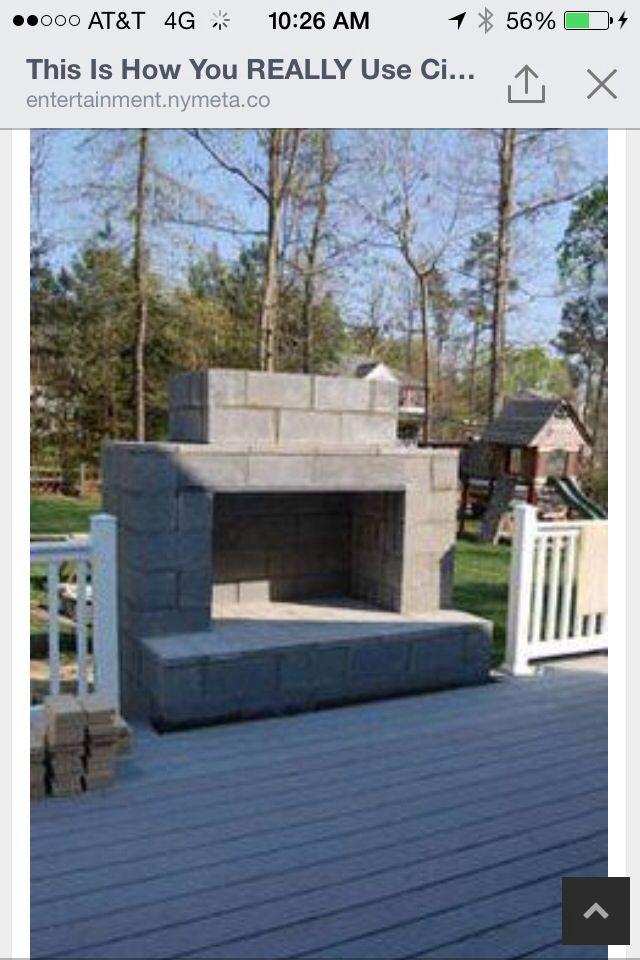 Left over cinder blocks   Diy outdoor fireplace, Backyard ... on Building Outdoor Fireplace With Cinder Block  id=96915