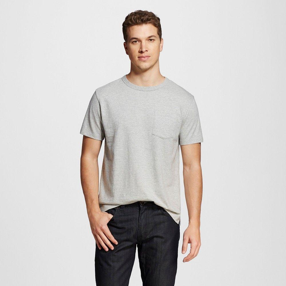 Men's Crew Neck Pocket T-Shirt Grey Xxl - Merona, Silver