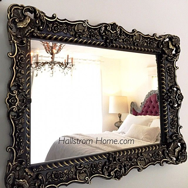 French Baroque mirror for sale at Hallstrom Home link here http://shop.hallstromhome.com/collections/mirrors/products/large-black-and-gold-baroque-mirror-wall-hanging-leaning-ornate-mirror-for-sale-hollywood-regency-style?variant=11151986753
