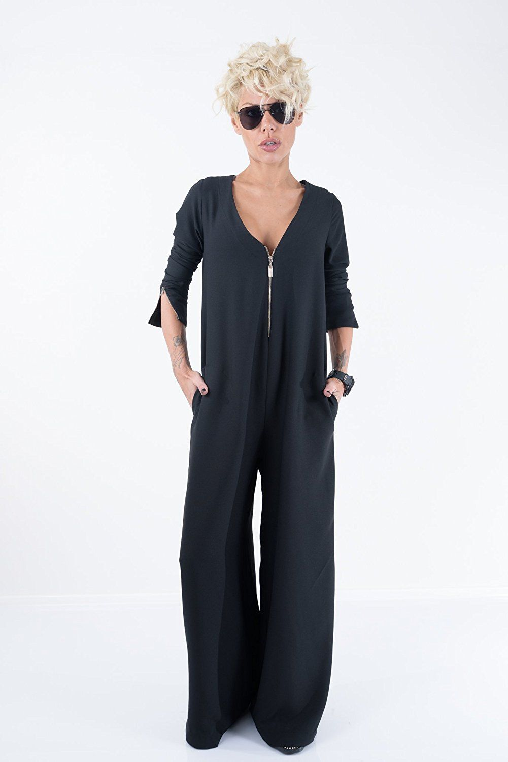 d7e234e3aeca Amazon.com  LOCKERROOM Black Loose Maxi Sexy Women Long Sleeve Plus Size  Jumpsuit Maxi Overall  Handmade