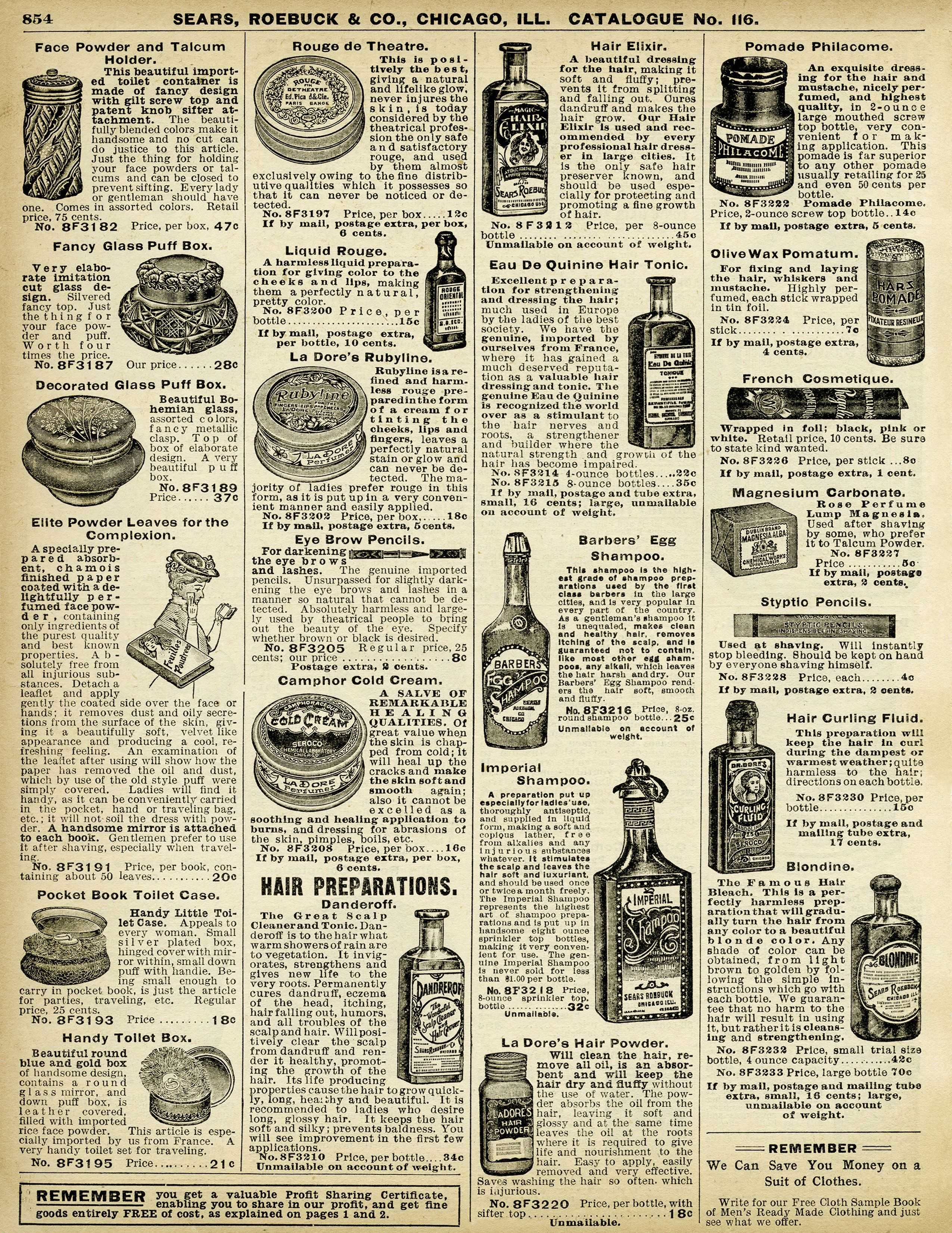 Vintage Beauty Products Free Printable Catalogue Page