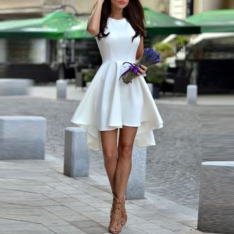White A-Line Satin Cocktail Dresses 2017 Scoop Sleeveless Hi Lo Prom ...
