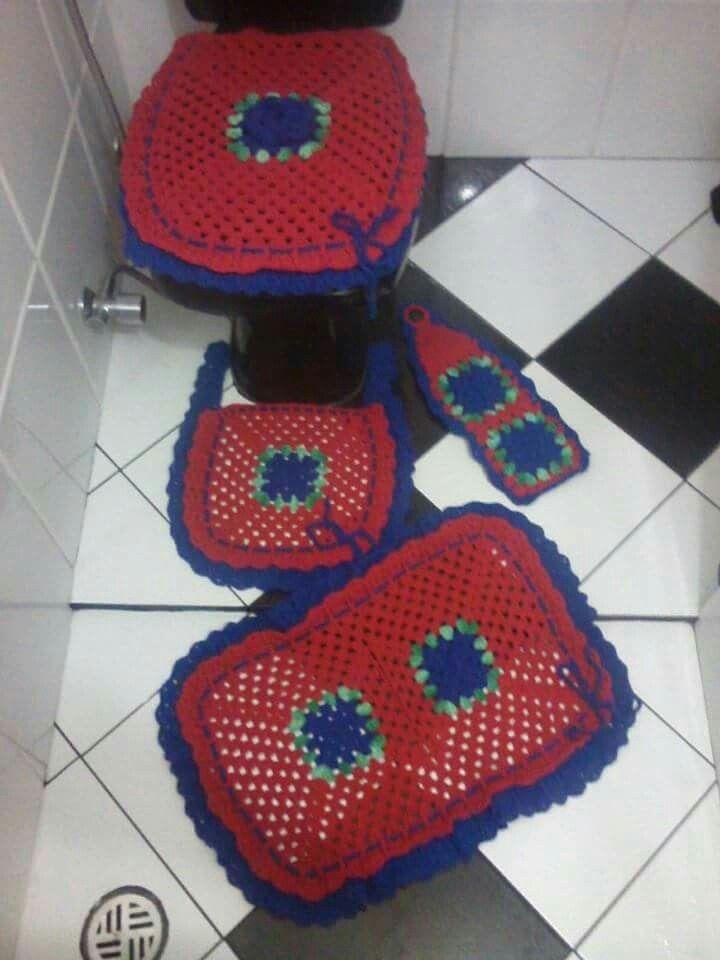 Jogo De Banheiro Vermelho E Azul Royal Thathy Conquistas Crochet Hats Crochet Hats