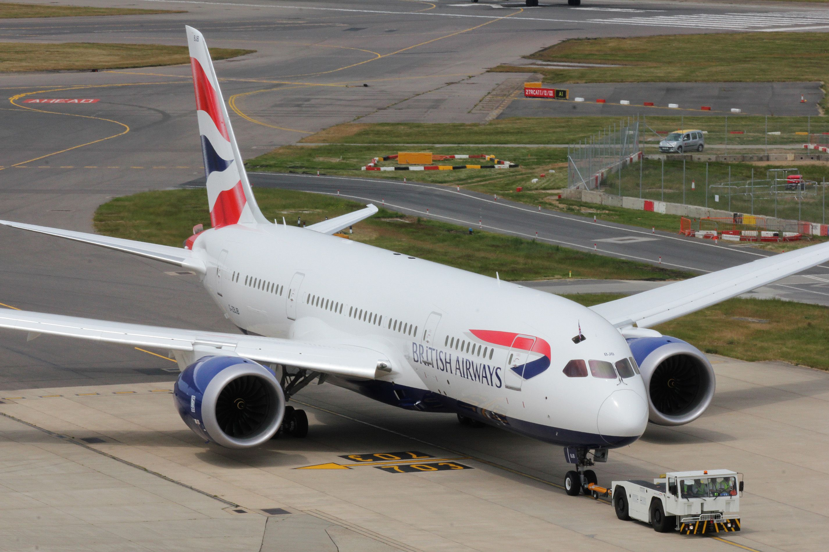 British Airways' first Boeing 787 taxiing at London Heathrow Airport.