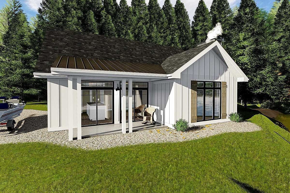 Plan 62712dj Cozy Cottage With Bunk Room House Plans Farmhouse Cottage Plan Guest House Plans