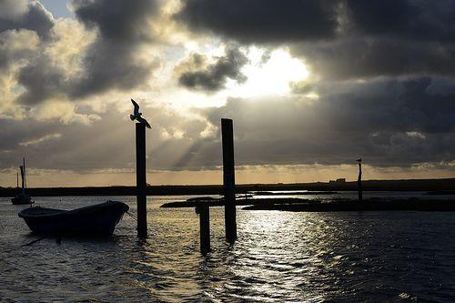 God rays over Brancaster Staithe harbour!