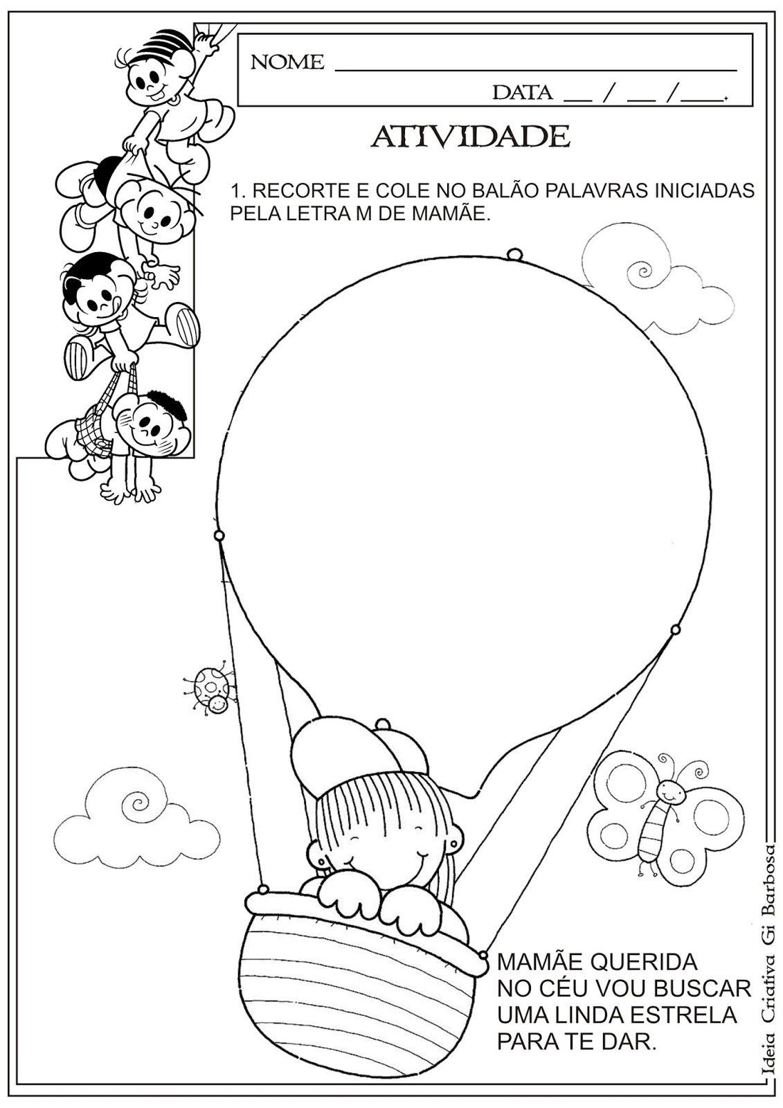 Conhecido Atividade Dia das Mães - Recorte e Colagem Letra Inicial  FE76
