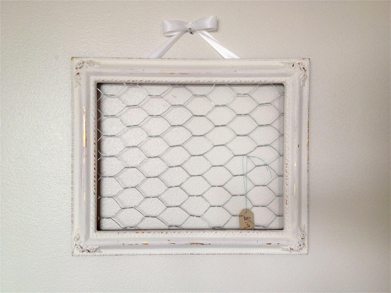 Distressed White Chicken Wire Frame hair bow hair clip holder memo ...